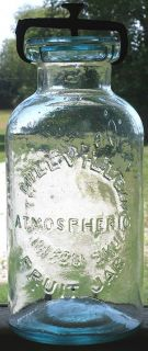 Millville Atmospheric Fruit Jar 56 oz Sharp All Original