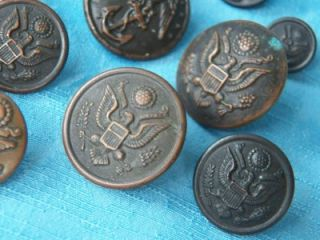 BUTTON LOT WW2 WW1? US ARMY US NAVY USN UNIFORM OLD VINTAGE SEWING