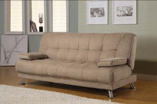 Tan Microfiber Futon Couch Sofa Bed Sleeper Modern