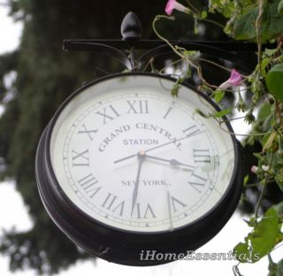 Train Station In or Out Dual Sided Vintage Garden Clock (Indoor or