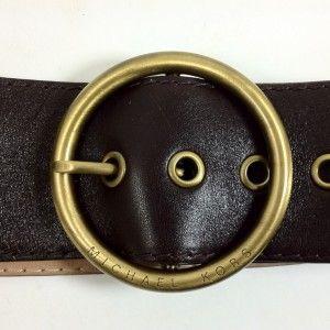 Michael Kors DK Brown Wide Belt Brass Hardware Medium