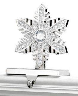 Holiday Lane Christmas Stocking Holder, Silver Snowflake