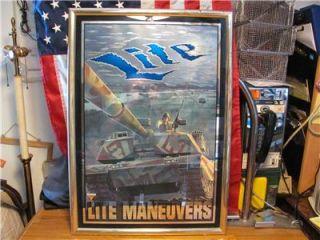 RARE Huge Miller Lite Beer Lite Maneuvers Mirror Bar Sign Good Used