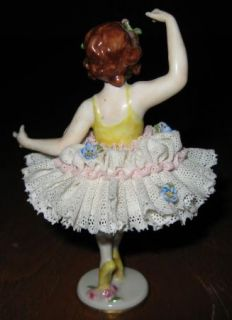 Beautiful Antique Volkstedt German Porcelain Dresden Lace Figurine