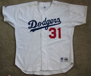 Mike Piazza Dodgers Hand Signed Russell Athletic Home Jersey Sz 52 No