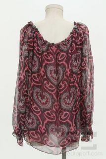 Milly Burgundy and Grey Paisley Print Silk Peasant Top Size 10