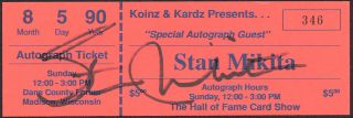 Stan Mikita Blackhawks Hockey Hand Signed Autographed Autograph Ticket