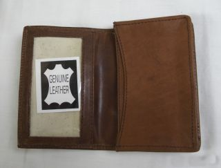 Credit Card Holder Wallet Brown Embossed with Jaguar Logo