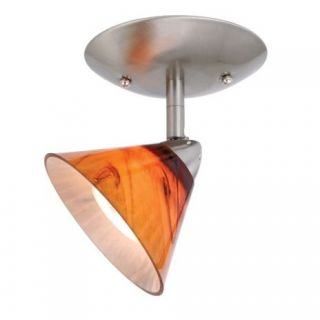 NEW 1 Light Ceiling Spot Lighting Fixture, Brushed Nickel, Amber Honey