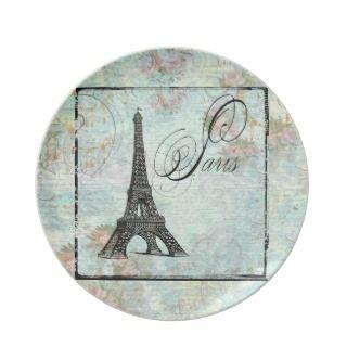 Paris French Eiffel ower Design Pink Roses Dinner Plaes