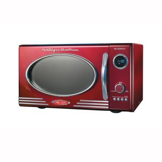 Retro Series Microwave Oven Red Silver from Brookstone
