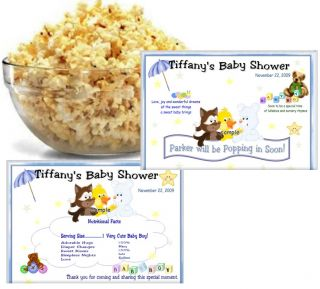 30 baby shower microwave popcorn wrappers
