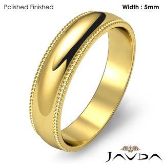 9g 8z Men Wedding Band Ring Dome Milgrain 5mm Gold Y 18K Solid Plain