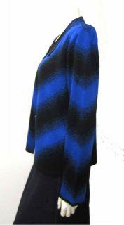 Ming Wang Filament Acrylic Open Sweater Jacket Black Royal Blue L