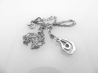 18K 750 White Gold Genuine Diamond Pendant with Chain