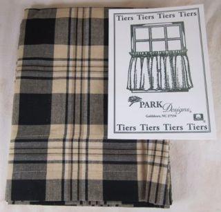 Primitive Country Black Tan Plaid Millbury Tier Curtains 72x24