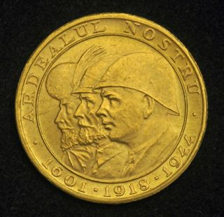 1944 Romania Kingdom Mihai I Beautiful Gold 20 Lei Coin AU