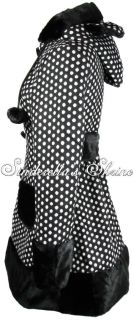 Hell Bunny Black Bear Ears Polka Dot Fur Mika Coat 8 18