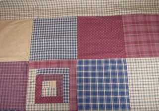 Navy Burgundy Tan Plaid Ditzy Print Patchwork Millsboro Shower Curtain