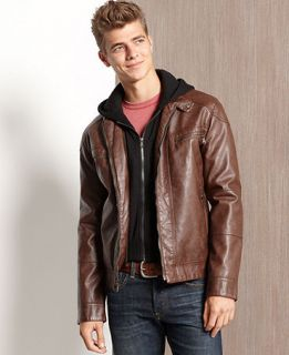 Calvin Klein Jacket, Faux Leather Hooded Jacket   Mens Coats & Jackets