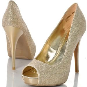 Gold Glitter Platform Peep Toe Heel Pump Party Stiletto Sz Women