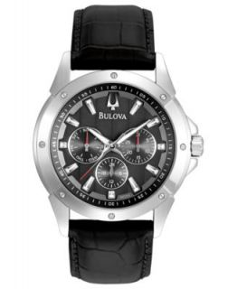 Bulova Watch, Mens Black Leather Strap 40mm 96C114   All Watches