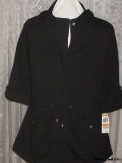 Petite Small Womens Clothing Black Hooded Jacket Style & Co NWT Free