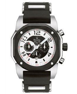 Bulova Watch, Mens Black Rubber Strap 98B139