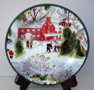 Square Nest Winter Snow Kids Holiday Plate 2004 Nice