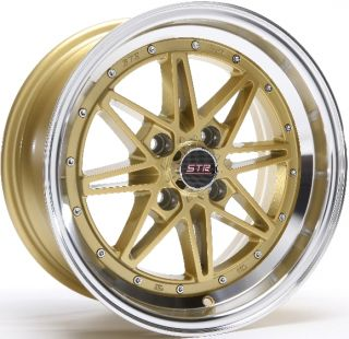 505 4X100 +15 GOLD MACHINED LIP WHEEL FIT SCION XB XA MAZDA MIATA MX5
