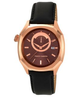 Vince Camuto Watch, Mens Black Leather Strap 42mm VC 1006BYRG   All