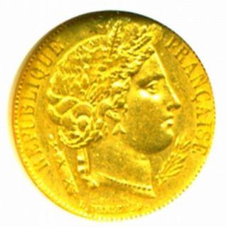 1851 A FRANCE CERES GOLD COIN 20 FRANCS * NGC CERT GENUINE SHARP AU 58