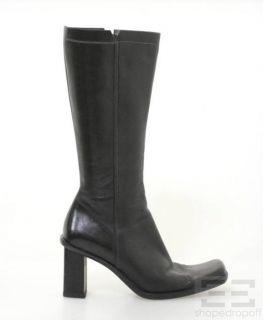Karen Millen Black Leather Square Toe Boots Size 39