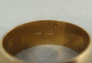 1950 Early Vintage Brass Gold Mark 585 14k Wedding Ring