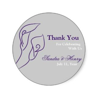 Purple & Silver Calla Lilies Favour Stickers