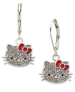 Hello Kitty Sterling Silver Earrings, Pave Crystal Face Leverback