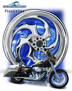 Moto Phantom Chrome Custom Motorcycle Wheels Harley Fatboy PM