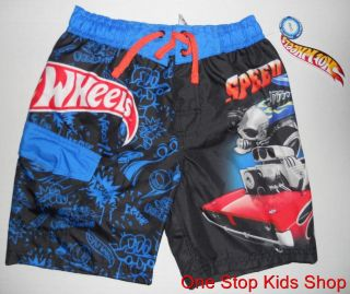 Hot Wheels Boys 4 5 6 7 8 10 12 Shorts Swim Trunks Bathing Suit Race