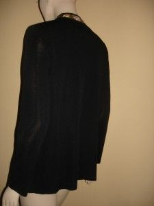 Ming Wang Black Metallic Ruffle Crystal Jacket 2X