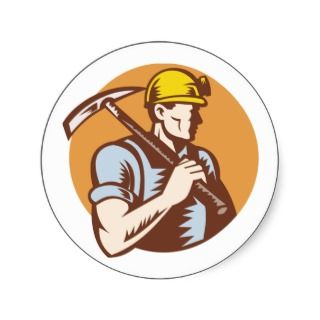 Coal miner at work with pick ax round sticker