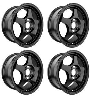 Drag Wheels Flat Black DR23 15 Rims 4 Lugs 4x100 Rim