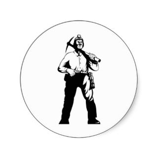 coal miner pick axe retro round stickers