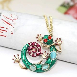 New Hot Sales Gold Tone Colorful Green Crystal Gecko Lizard Pendant