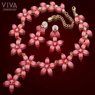 Hot Summer Fashion Pink Flower 18K Gold Plated Necklace Earrings