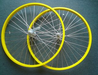 Beach Cruiser bike 26x1.75 Rear & Front Wheels Rims Yellow W coaster