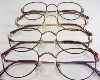 Rim Eyeglass Frames Vtg 4 Colors Tortoise Wine Violet Antique Gold 48