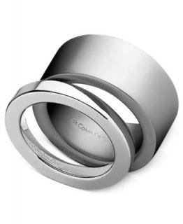 ck Calvin Klein Ring, Stainless Steel Black Leather Ring   Fashion
