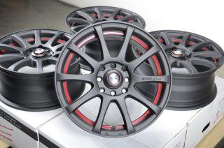 Matte Black Red Rims Cobalt Protege Aerio Cabrio Golf CL Wheels
