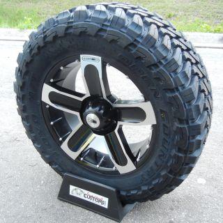 20 HD Dirt Black Rims 35 Toyo Opencountry MT Tires Chevy Silverado