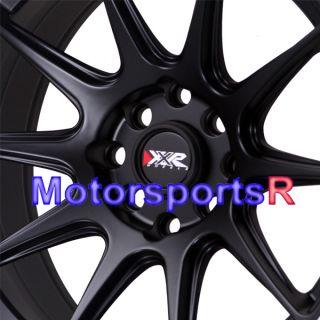 16 16x8 25 XXR 527 Black White Stripe Rims Concave Wheels Stance 4x100
